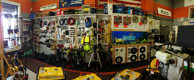 Showroom containing numerous tools